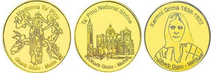 Ta' Pinu souvenir coins available from dispensers at the Shrine & Museum