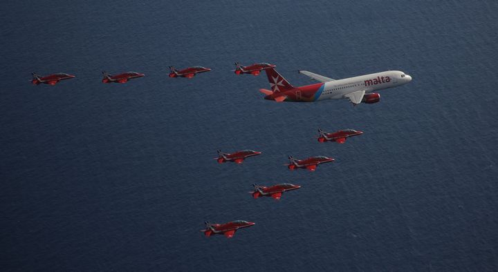 Spectacular Air Malta formation flypast with the RAF Red Arrows
