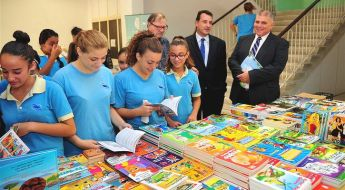 Gozo Minister visits the Book Fair at the Girl's Secondary School in Victoria