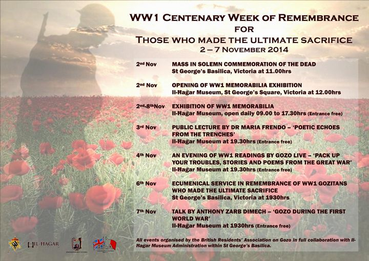 100th anniversary of WWI commemoration events: British Residents' Association