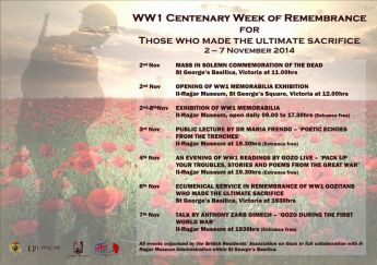 100th anniversary of WWI commemoration events start this weekend in Gozo