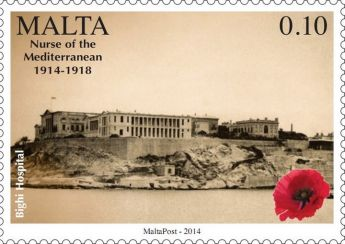 Stamps commemorating WW1 Centenary: Malta, Nurse of the Mediterranean