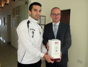 Charles Mercieca of Nadur Youngsters &  John Camilleri of Xewkija Tigers win BOV GFA awards
