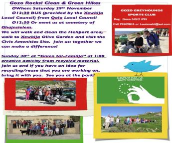 Gozo-Rocks Clean & Green events for the European Week for Waste Reduction