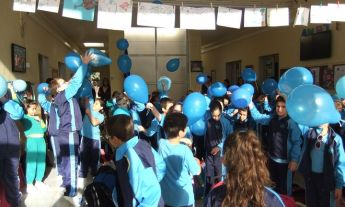 Students and staff of Gharb Primary celebrate World Diabetes Day