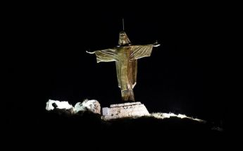 Tas-Salvatur statue illuminated at night as phase 2 of restoration is finished