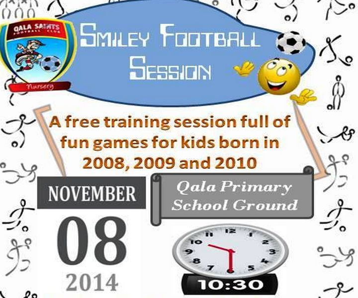 Free Smiley Football Session for children at Qala Saints Nursery F.C