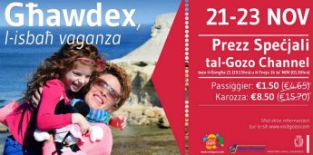 'Travel to Gozo' weekend with special price reductions offered on Gozo Channel