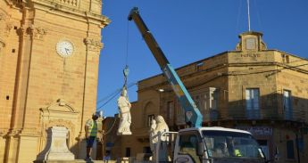 Restoration project gets underway on the parvis of Xaghra Parish Church
