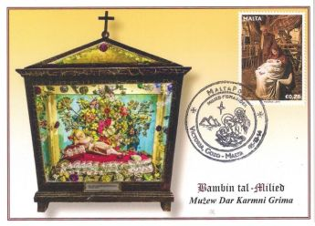 Special postcard and hand stamp available from Karmni Grima Museum
