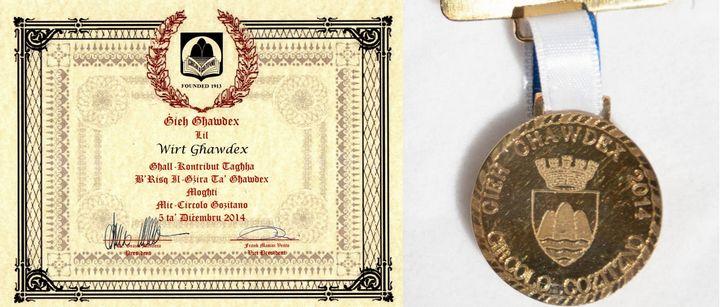 Wirt Ghawdex presented with the Gieh Ghawdex 2014 Award