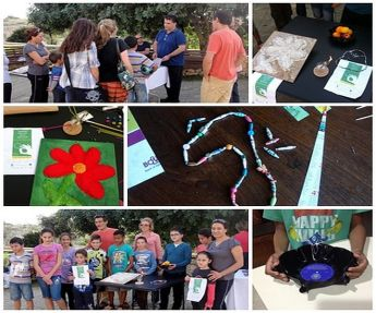 Making recycled crafts from material collected on Gozo clean-up hikes