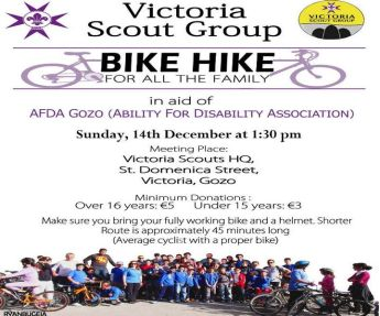 Victoria Scout Group Bike Hike in aid of 'Ability for Disability Association' Gozo