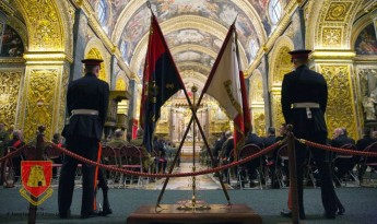 Laying up of the old Colours of the AFM ceremony at St John's Co-Cathedral