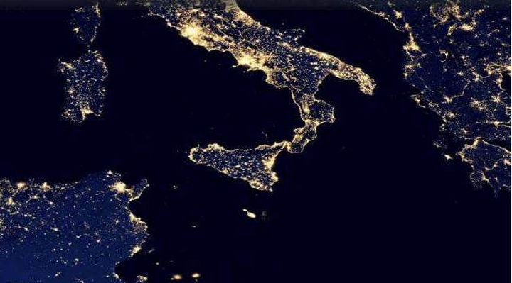 Earth's city lights seen from space, with Malta shining brightly