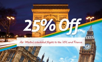 Air Malta Launches 25% discount on its flights to the UK and France