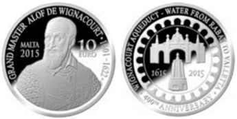 Numismatic coin for the 400th anniversary of Wignacourt Aqueduct