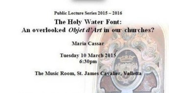 MHS lecture: 'A History of the Holy Water Stoup in Malta' by Maria Cassar