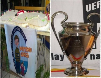 Figolla sale &  photo with Champions League Trophy for Puttinu Cares