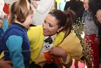 Amber visits staff and children at the Gozo College Rabat Primary