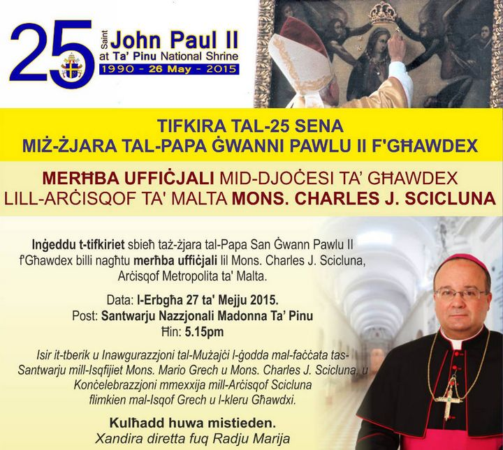 Archbishop Charles J. Scicluna at Ta' Pinu on official visit to Gozo