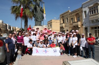 Good turnout for the 'Think Pink, Walk Proud' Awareness walk to Ta' Pinu