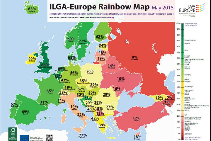 Malta rises to 3rd place in the ILGA-Europe LGBT Rainbow Map