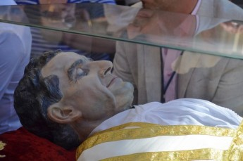 Casket containing the relic of St John Bosco on visit to Gozo