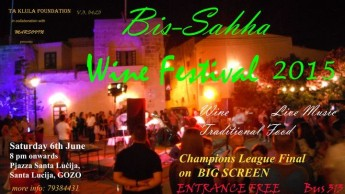 'Bis-Sahha' Wine Festival next weekend in Santa Lucija, Gozo