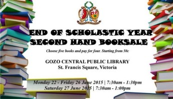 End of Scholastic Year Second Hand Booksale at the Gozo Library, Victoria