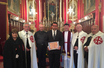 Chev. Chris Galea presented with new Award by Fontana Parish Church