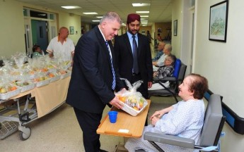 Elderly residents in the Gozo General Hospital  receive fruit hampers