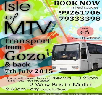 MTV transport from Gozo & back in aid of the Xaghra Scout Group