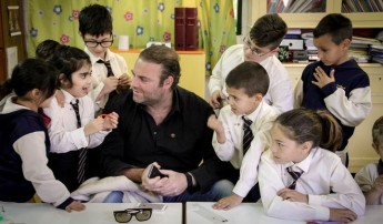 Students at Senglea Primary give a warm welcome to Joseph Calleja