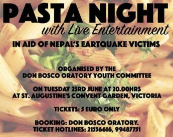Pasta night with entertainment in aid of Nepal's earthquake victims