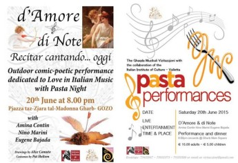 Pasta and Performances- This coming Saturday in Gharb Square
