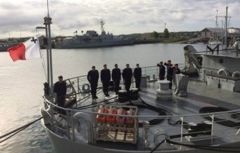AFM raises the Maltese flag onboard the Irish Vessel 'LÉ Aoife'