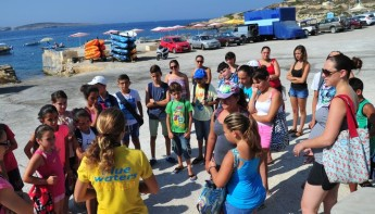 San Lawrenz Summer Fun Club youngsters get a 'Dive Talk' at Hondoq