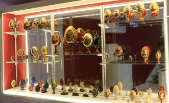 Collection of hand painted wood icon eggs at Heart of Gozo museum