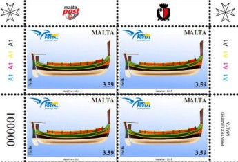 Philatelic postage stamp issue 'Boats of the Mediterranean'