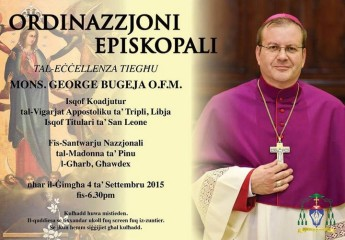 Episcopal Ordination of Fr George Bugeja OFM takes place on Friday
