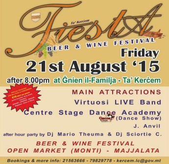 Kercem Fiesta for all the family at Gnien il-Familja on Friday