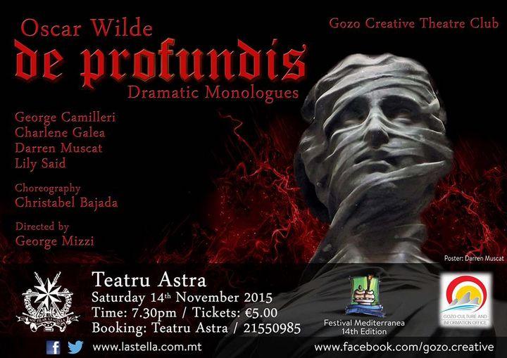 The Gozo Creative Theatre Club presents Oscar Wilde's De Profundis