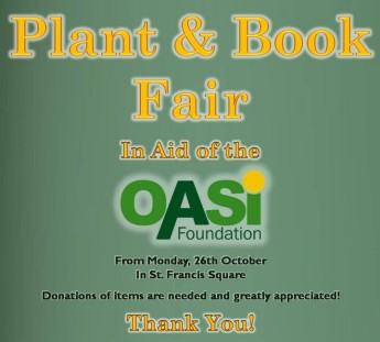 Plant and Book Fair in aid of OASI taking place in Victoria