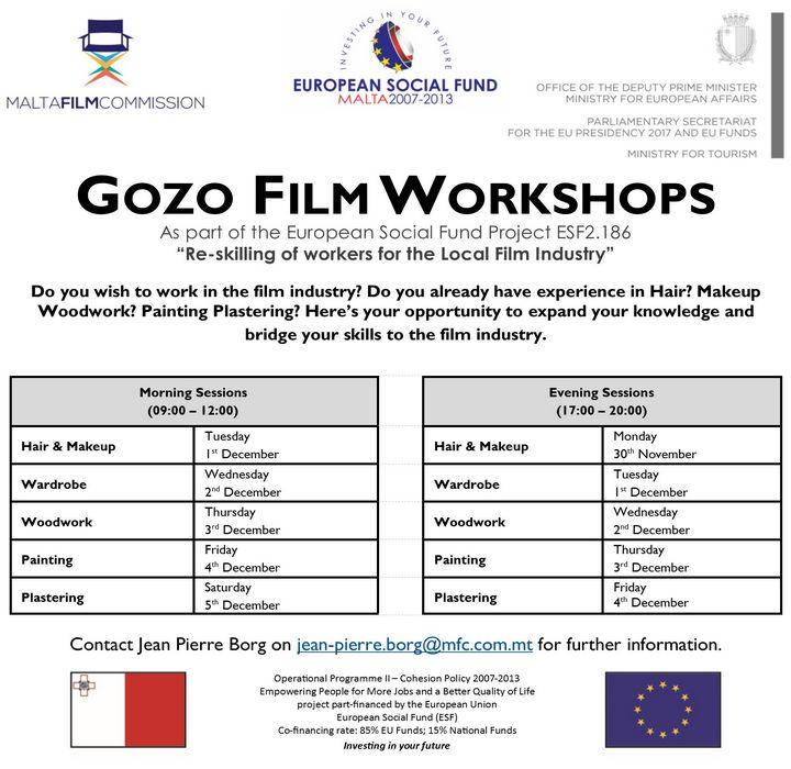 Free Gozo Film Workshops get underway on next Monday