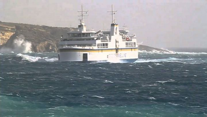 Gozo ferry currently working to and from South Quay, Cirkewwa