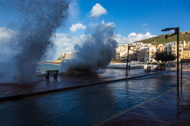 Strong winds cause high waves to batter Marsalforn promenade