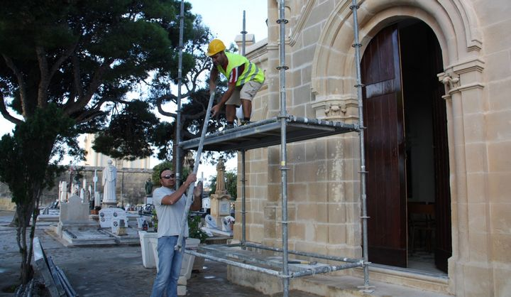 Restoration underway on facade of St Mary's Chapel in Victoria
