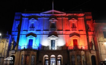 Aurora Theatre Gozo shows it support by sporting French colours