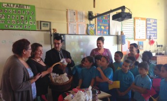 Xewkija Primary school students receive goody bag for St Martin's